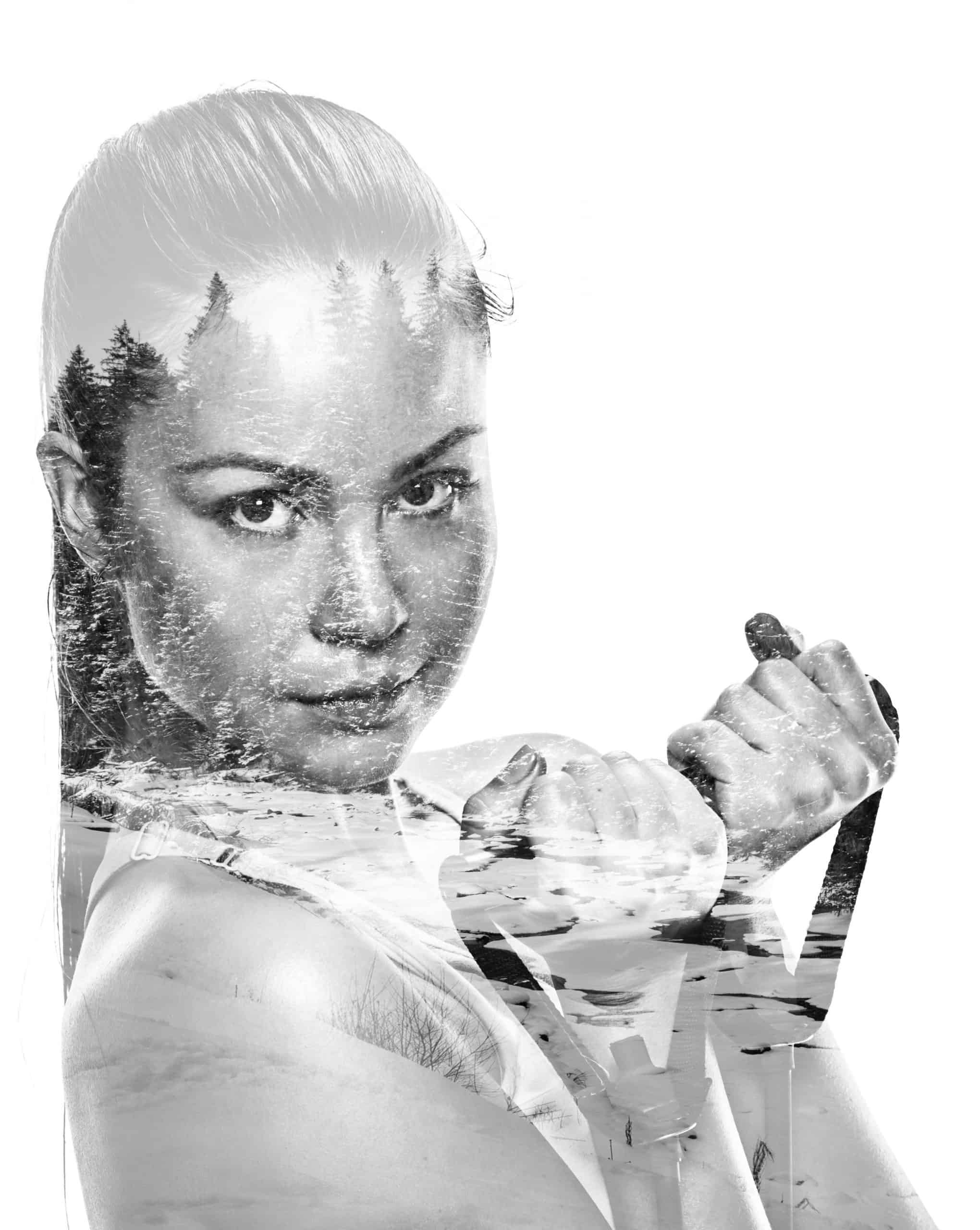 athletic woman with rubber tape on white background. studio portrait, double multiple exposure effect,combined images